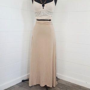 Tan Maxi Flowy Summer Skirt